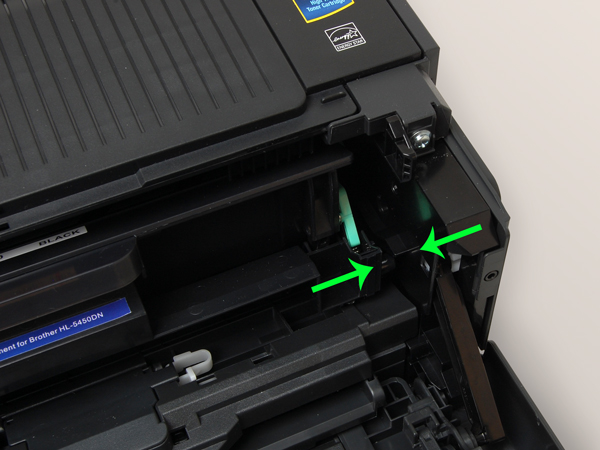TN720/TN750 drum cartridge fully inserted into Brother printer.
