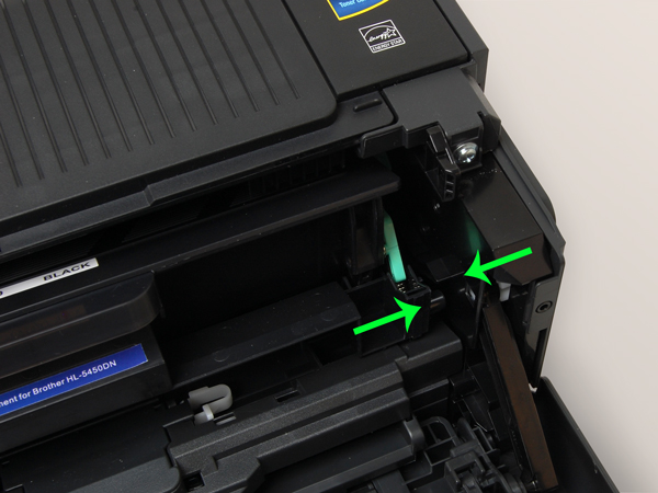 TN720/TN750 drum cartridge not fully inserted into Brother printer.