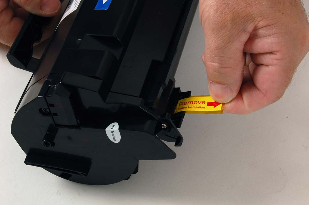 Removing the toner seal from the Lexmark 501H toner cartridge