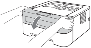 Opening the front cover of Brother HL-2240 printer