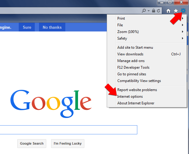 Step 1: Open IE Internet Options on the Tools menu