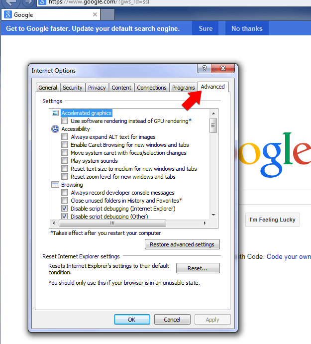 Step 2: Select the Advanced tab in IE Internet Options