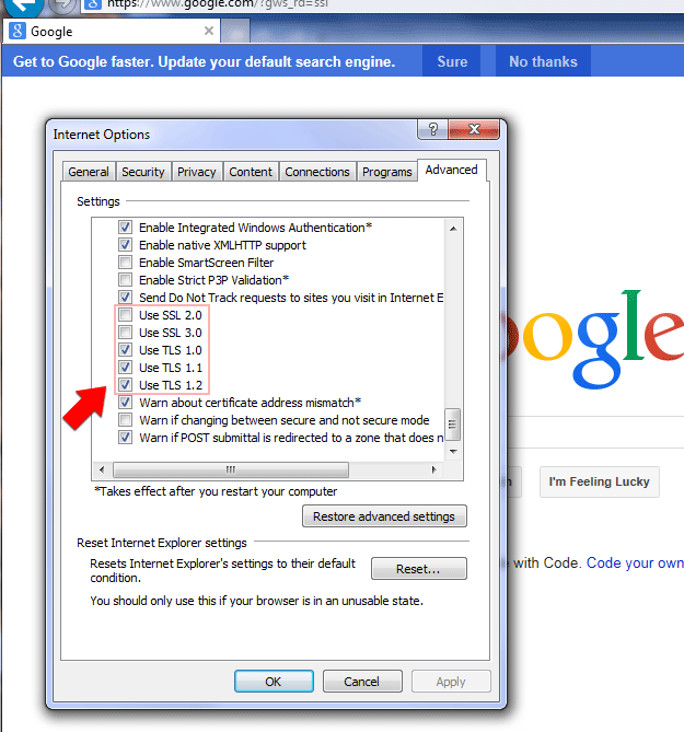 Step 3: Uncheck SSL and check TLS protocols in IE Advanced Internet Options