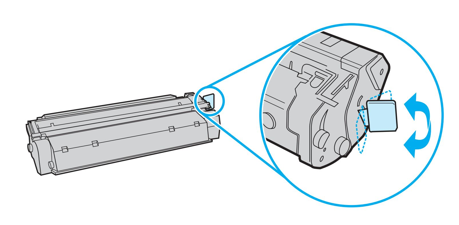 Location of tab on cartridge
