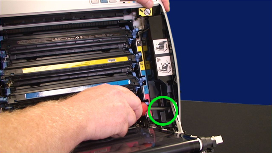 release the tab on the inside of the cover - Hp Color Laserjet 2600n