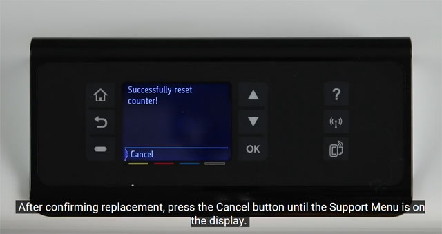 Press the cancel button until the Support Menu is visible on your HP PageWide Pro 452dw display.