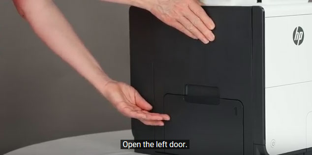 Open the door located on the left side of your HP PageWide Pro 452 printer.