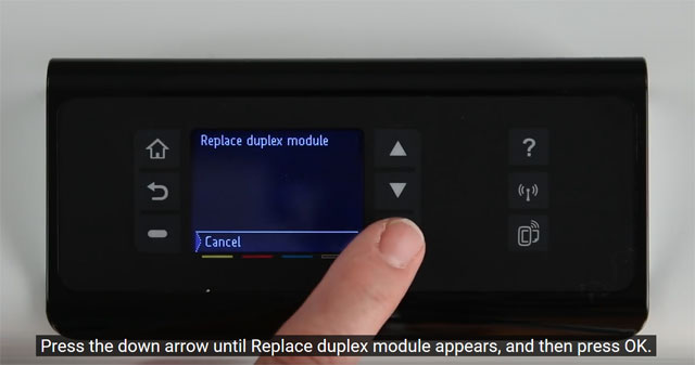 Press the down arrow to select Replace duplex module for your HP PageWide Pro 452dw printer.
