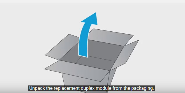 Unpack the replacement duplex module for your HP PageWide Pro printer.