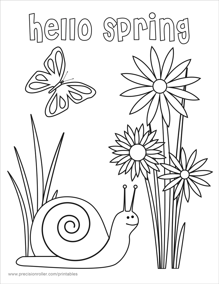 coloring pages about spring - hello spring coloring page precision printables
