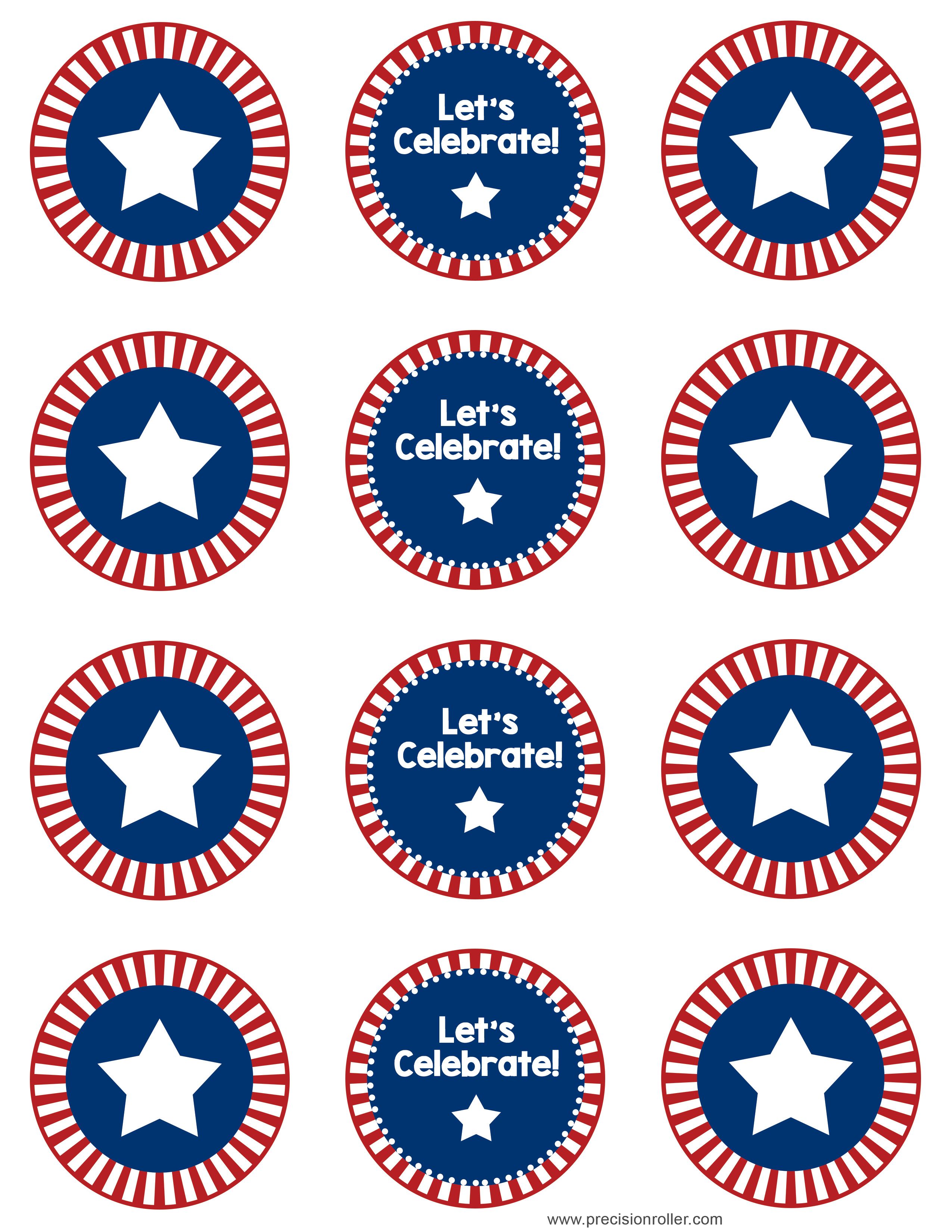 image relating to Printable Cupcakes Toppers titled Cost-free Patriotic Cupcake Toppers - Accuracy Printables