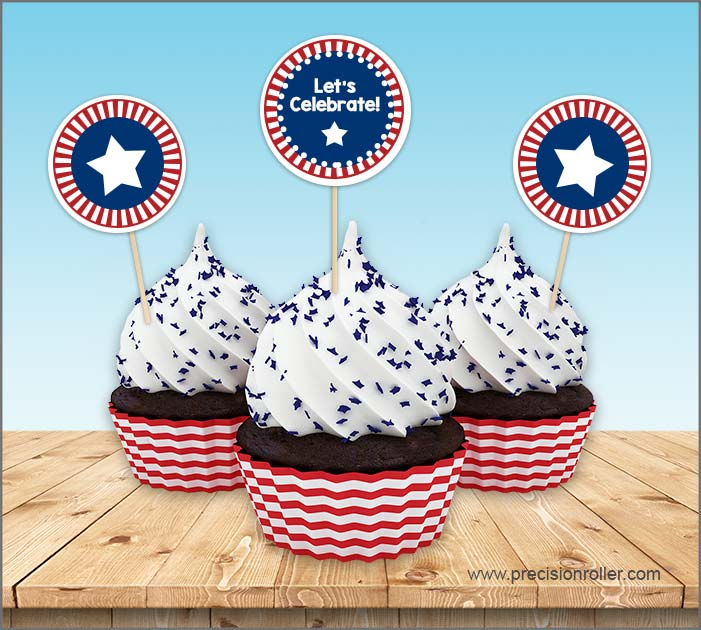 Free Patriotic Cupcake Toppers