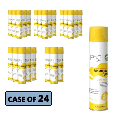 Lemon Disinfectant Spray - 75% Alcohol - Case of 24 Cans (large photo)