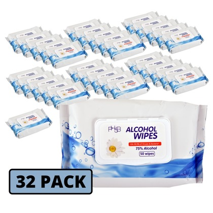 75% Alcohol Wipes - Case of 32 Packs